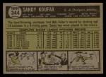 1961 Topps #344  Sandy Koufax  Back Thumbnail
