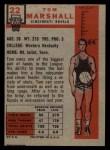 1957 Topps #22  Tom Marshall  Back Thumbnail