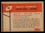 1960 Fleer #66  Billy Cannon  Back Thumbnail