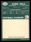 1960 Topps #103  King Hill  Back Thumbnail