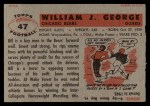 1956 Topps #47  Bill George  Back Thumbnail