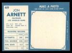 1961 Topps #49  Jon Arnett  Back Thumbnail