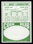 1968 Topps #48  Andy Livingston  Back Thumbnail