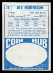 1968 Topps #211  Joe Morrison  Back Thumbnail