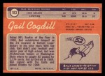 1970 Topps #183  Gail Cogdill  Back Thumbnail