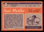 1970 Topps #216  Paul Martha  Back Thumbnail