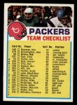 1973 Topps Football Team Checklists #10   Green Bay Packers Front Thumbnail