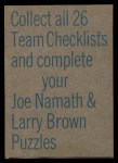 1973 Topps Football Team Checklists #1   Atlanta Falcons Back Thumbnail