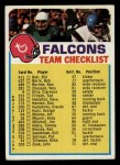 1973 Topps Football Team Checklists #1   Atlanta Falcons Front Thumbnail