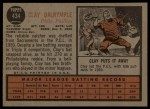 1962 Topps #434  Clay Dalrymple  Back Thumbnail