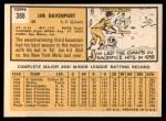 1963 Topps #388 TOU Jim Davenport  Back Thumbnail