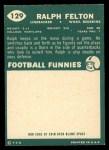 1960 Topps #129  Ralph Felton  Back Thumbnail