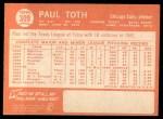 1964 Topps #309 ^COR^ Paul Toth  Back Thumbnail