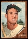1962 Topps #180 A Bob Allison  Front Thumbnail