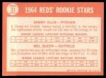 1964 Topps #33   -  Sammy Ellis / Mel Queen Reds Rookies Back Thumbnail