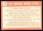 1964 Topps #146   -  Tommy John / Bob Chance Indians Rookies Back Thumbnail