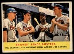 1958 Topps #351   -  Del Crandall / Eddie Mathews / Hank Aaron / Joe Adcock Braves Fence Busters Front Thumbnail