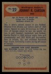 1955 Bowman #22  John Carson  Back Thumbnail