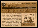 1960 Topps #274  Tom Acker  Back Thumbnail