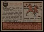 1962 Topps #432  Jim Pendleton  Back Thumbnail