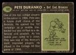 1969 Topps #182  Pete Duranko  Back Thumbnail
