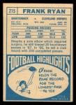 1968 Topps #215  Frank Ryan  Back Thumbnail