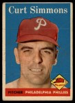 1958 Topps #404  Curt Simmons  Front Thumbnail