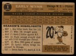 1960 Topps #1  Early Wynn  Back Thumbnail