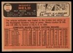 1966 Topps #136  Woodie Held  Back Thumbnail