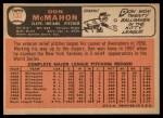1966 Topps #133  Don McMahon  Back Thumbnail