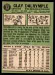 1967 Topps #53  Clay Dalrymple  Back Thumbnail