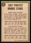 1967 Topps #123   -  Jim Price / Luke Walker Pirates Rookies Back Thumbnail