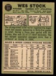 1967 Topps #74  Wes Stock  Back Thumbnail