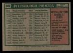 1975 Topps #304   -  Danny Murtaugh Pirates Team Checklist Back Thumbnail