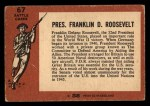 1966 A and BC England Battle #67   Pres. Franklin D. Roosevelt Back Thumbnail