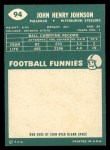 1960 Topps #94  John Henry Johnson  Back Thumbnail