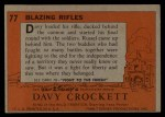 1956 Topps Davy Crockett #77 ORG  Blazing Rifles  Back Thumbnail