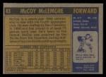 1971 Topps #83  McCoy McLemore   Back Thumbnail