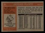 1972 Topps #24  Jacques Plante  Back Thumbnail