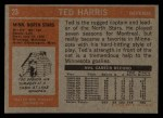 1972 Topps #23  Ted Harris  Back Thumbnail