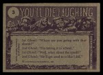 1973 Topps You'll Die Laughing #3   Laundry man is here Back Thumbnail