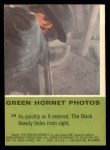 1966 Donruss Green Hornet #43   Black Beauty fades from sight Back Thumbnail
