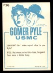 1965 Fleer Gomer Pyle #16   Pyle You've Got to Stop Eating Back Thumbnail