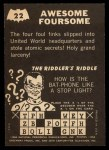 1966 Topps Batman -  Riddler Back #22 RID  Awesome Foursome Back Thumbnail