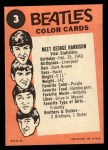 1964 Topps Beatles Color #3   Meet George Harrison Back Thumbnail