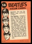 1964 Topps Beatles Color #56   Ringo at the beach Back Thumbnail