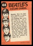 1964 Topps Beatles Color #44   Beatles in concert Back Thumbnail