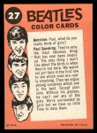 1964 Topps Beatles Color #27   Ringo, Paul and George performing Back Thumbnail