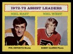 1973 Topps #2   -  Phil Esposito / Bobby Clarke Assists Leaders  Front Thumbnail