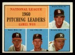 1961 Topps #47 xLNE  -  Warren Spahn / Ernie Broglio / Lew Burdette / Vern Law NL Pitching Leaders Front Thumbnail